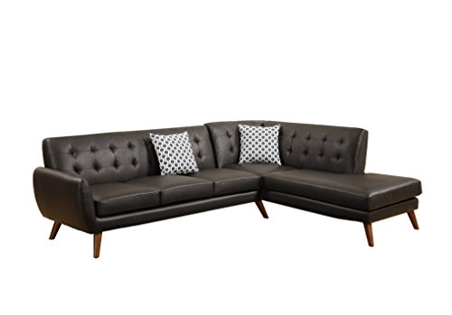 Poundex Bobkona Belinda Bonded Leather SECTIONAL in Espresso
