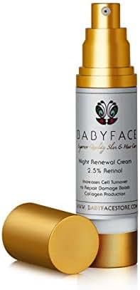 80% More FREE! Babyface Organic Night Renewal Cream STRONGEST AVAILABLE 2.5% All-Trans Encapsulated Retinol 1.8oz