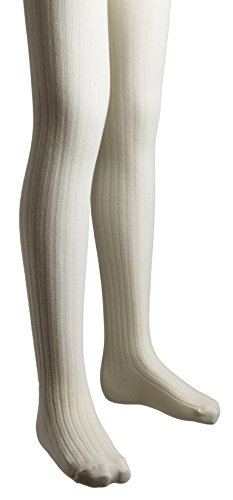Sportoli Girls Ribbed Cotton Hold and Stretch Footed Winter Tights - Ivory (size 10/12)