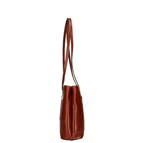 en Italy bolsa Made 30x25x10 de Cm Aren in Marrón cuero Mujer hombro genuino wHqz6F