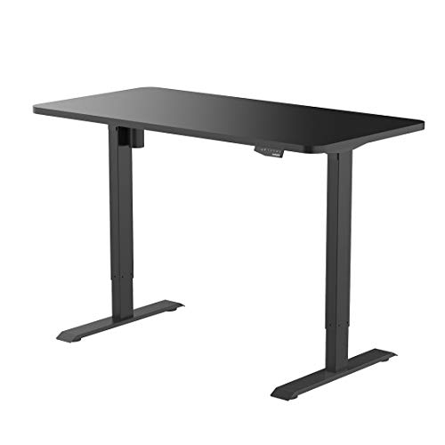 FlexiSpot E1B-R5528B Electric Height Adjustable Desk with Desktop Home Office Standing Desk Black Frame 55 inch Black Top