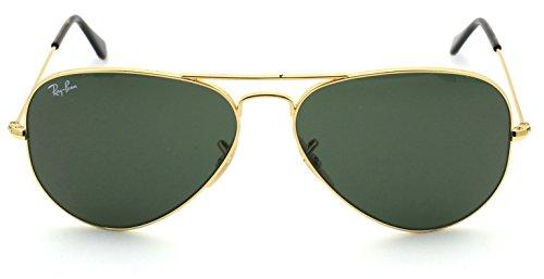 Ray Ban Aviator Gold Frame Green Glass - Ray-Ban RB3025 181 Unisex Aviator Sunglasses
