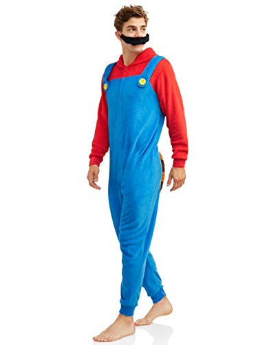 Super Mario Men's Faux Fur Licensed Sleepwear Adult Costume Union Suit Pajama (Large, Raccoon) -