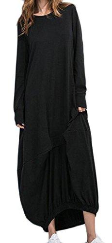 Jaycargogo Pleated Swing Sleeve Casual Autumn Dress Long Maxi Women's Loose Black AxnrUA