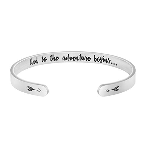 Joycuff Inspirational Bracelets Fight Cancer Gifts for Best Friend Personalized Mantra Cuff Bangle Engraved (and so The Adventure Begins.)