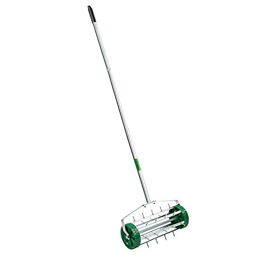 VINGLI Rolling Lawn Aerator with 51'' Handle, Push Spike Tine Roller for Home Garden Yard Patio Grass Soil Aeration, Roller Secured by Fasteners