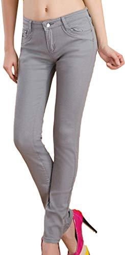 Elasticità Skinny Autunno Jeans Trend Corti Pantaloni Stile A Lunghi Leggings Casual Matita Snone Grigio Sottili Slim Donna fn0OIYx