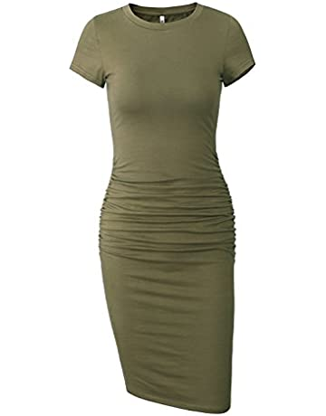 d3b55f8cbdc7 Missufe Women's Short Sleeve Ruched Casual Sundress Midi Bodycon T Shirt  Dress