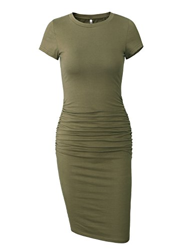 (Missufe Women's Ruched Casual Sundress Midi Bodycon Sheath Dress (Army Green, Medium))