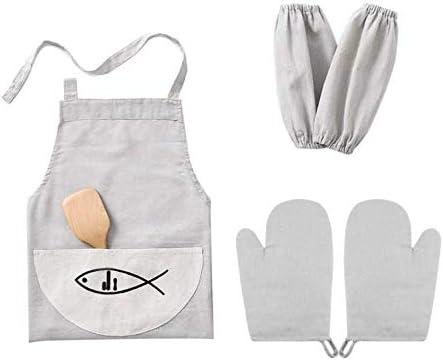 Juego de delantal de cocina de algodón, manopla para horno, mangas ...