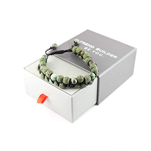 Trend Builder Inc New Lava Rock Natural Stone Essential Oil Diffuser Tassel Bracelets for Aromatherapy | Distance Friendship Mala Tibetan Prayer Beaded Bracelet | 20 Options | Gift Box -