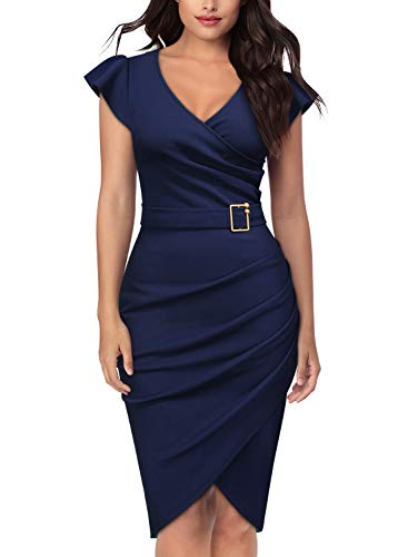 (Knitee Women's Sleeveless V-Neck Office Evening Nightout Cocktail Party Bodycon Sheath Dress)