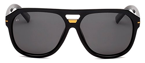 "PRIVÉ REVAUX ICON Collection ""The Blake"" Handcrafted Designer Polarized Aviator Sunglasses For Men & Women (Black)"