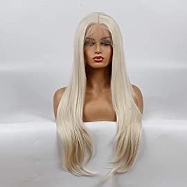 Life Diaries NEW STYLE Kanekalon Nature Straight High Density Heat Resistant Fiber Bleached Knot Glueless Large Part Space Transparent Lace Front Synthetic Wig For White Or Pale Scalp blonde 24 inch