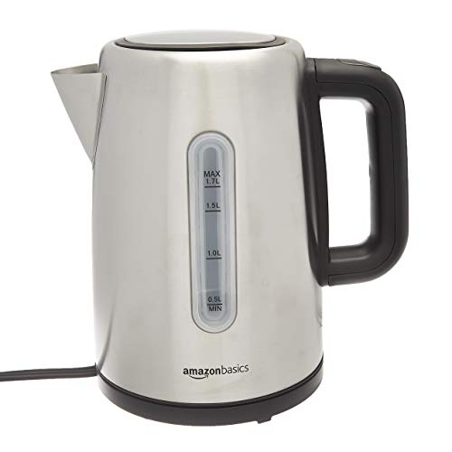 AmazonBasics Stainless Steel Portable Electric Hot Water Kettle - 1.7 Liter, Silver