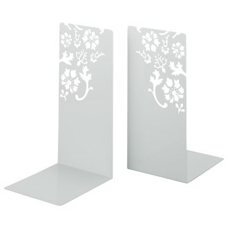 Kirie - Pair of White Metal Bookends with Flower Cutout Pattern, 10