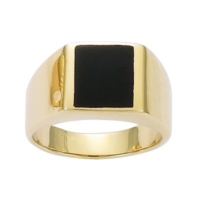 So Chic Jewels - 18K Gold Plated Black Onyx Signet Ring - Size 10