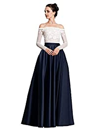 SkirtsFirst Women's Satin Long Floor Length High Waist Prom Party Skirts
