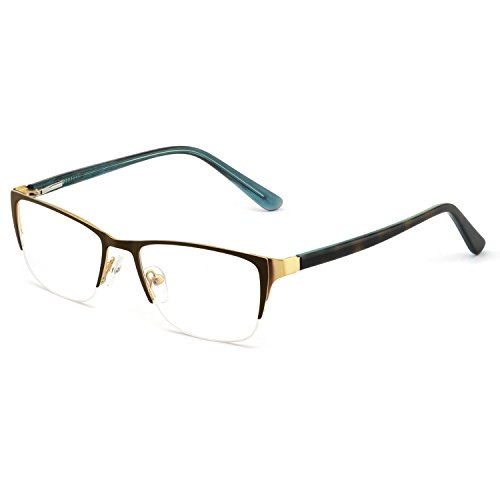 OCCI CHARI rectangle Stylish Eyewear Frame Non-Prescription Eyeglasses With Clear Lenses Gifts For Women Men (Brown+Green)