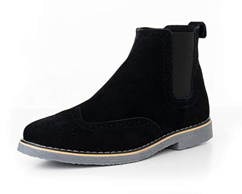 alpine swiss Mens Chelsea Boots Genuine Suede Dress Ankle Boots Wingtip Shoes Black 10 M US