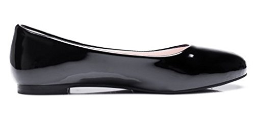Summerwhisper Mujeres Simple Round Toe Low-cut Ancho Ancho Slip-on Pisos Bombas Zapatos Negro