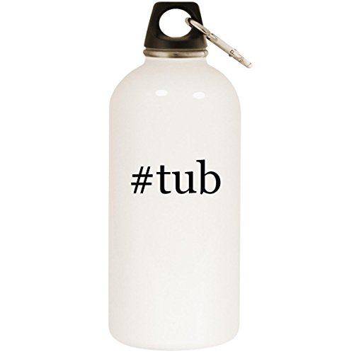 #tub - White Hashtag 20oz Stainless Steel Water Bottle with Carabiner