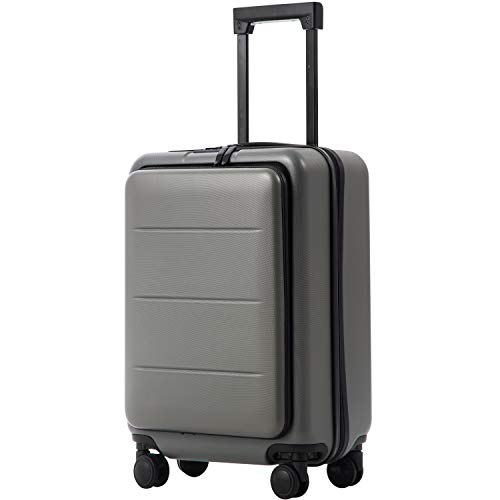 COOLIFE Luggage Suitcase Piece Set Carry On ABS+PC Spinner Trolley with pocket Compartmnet Weekend Bag (Titanium gray, 20in(carry on))