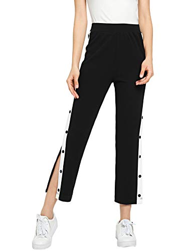 SOLY HUX Women's Split High Waist Striped Joggers Snap Button Track Pants Black L