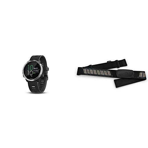 """Garmin 010-01863-00 Forerunner 645, GPS Running Watch with Pay Contactless Payments and Wrist-Based Heart Rate, Black, 1.2"""" & HRM-Dual Heart Rate Monitor"""