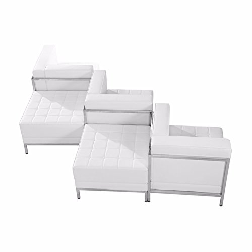 (Offex Straight Arm Design Melrose White Leather 5 Piece Chair and Ottoman Set)