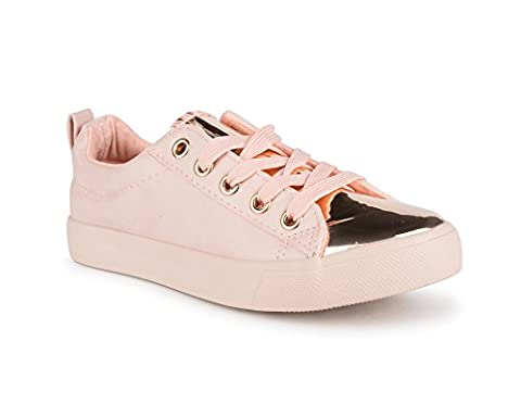 Twisted Girl's Faux Leather and Metallic Sneaker - KIXLO240AKMAUVE, Size 2 - 2 Leather Casual Shoe