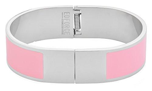 eel Women's Silver Pink Enamel Bangle Bracelet H-Buckle Clasp Shaped (Pink) (Pink Enamel Bangle)