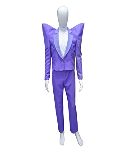 Men's 80's Rocker Animation Costume, Purple Medium ()