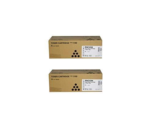 431007 Genuine Ricoh Toner Cartridge 2 Pack, Type 1190L, 2500 Page-Yield Per Ctg, Black