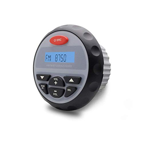 Herdio Marine Gauge Radio Receiver System, Waterproof in-Dash Marine Stereo Bluetooth Digital Media Mp3 AM/FM/USB/RCA/AUX