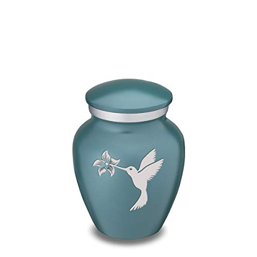 GetUrns Keepsake Mini Hummingbird Embrace Cremation Urn for Sharing Teal