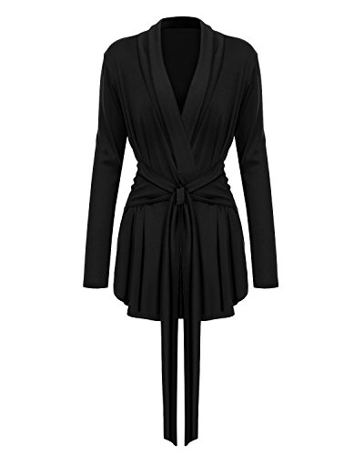 Mixfeer Women's Long Sleeve Open Front Lightweight Drape Wrap Travel Cardigan Sweater With Waist (Belted Wrap Sweater)