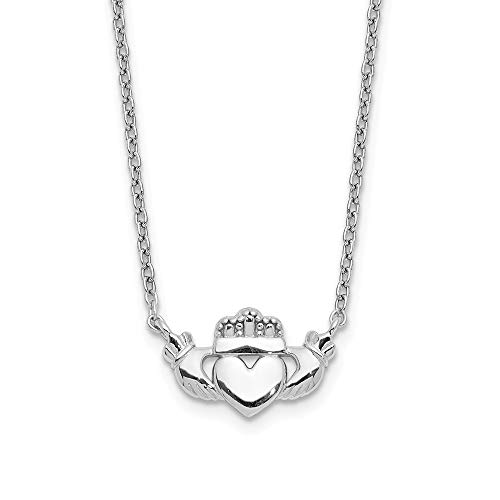 14k White Gold Irish Claddagh Celtic Knot Chain Necklace Pendant Charm Fancy Celtic/claddaugh Fine Jewelry Gifts For Women For Her