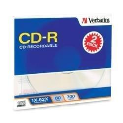 CD-R 80MIN 700MB 52X Branded 2-CD Slim Case