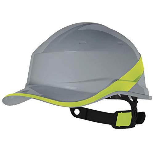 Delta Plus Hard Hat Safety Helmet Gray Hi Viz Band Textile Harness Adjustable