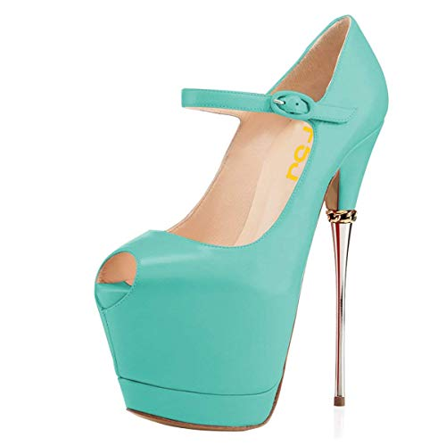 FSJ Women Sexy Peep Toe Sky High Heels Platform Pumps Ankle Straps Marry Jane Shoes with Metal Stilettos Size 14 Turquoise