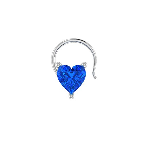 - Heart Shaped D/VVS1 Simulated diamond 925 Sterling Silver Stud Screw & Twist Wire nose pin