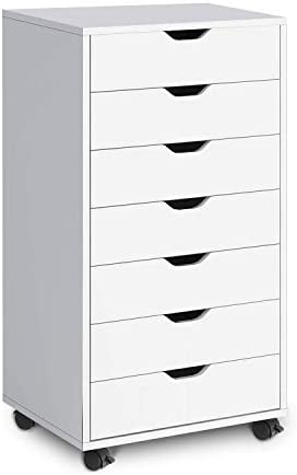 DEVAISE 7 Drawers Chest, Storage Dresser, Cabinet with Removable Wheels White