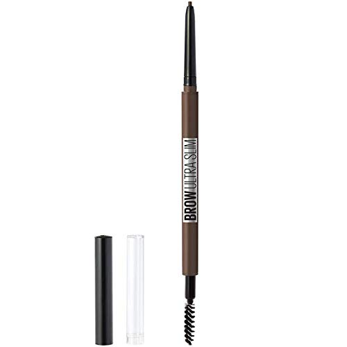 (Maybelline New York Brow Ultra Slim Defining Eyebrow Makeup Mechanical Pencil with 1.55 MM Tip & Blending Spoolie For Precisely Defined Eyebrows, Deep Brown, 0.03 oz.)