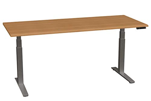 SmartMoves by Howard Miller Dual Motor Electric Adjustable Height Desk with Beveled Desktop (Almond Cherry Desktop/Charcoal Base, 72 in - Howard Desk Cherry