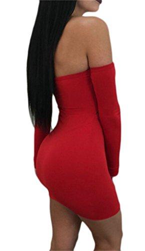 Abito Mini Domple Fuori Sexy Womens Spalla Club Dalla Tagliati Legame Arco Rosso Lungo Manica Del OqHxZw7ax