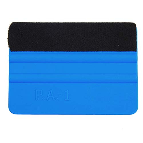 1KTon Blue Plastic Felt Edge Squeegee 4 Inch for Car Vinyl Scraper Decal Applicator - 10k Gold Roll Solid