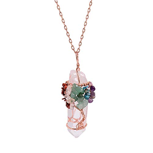 Price comparison product image 7 Chakra Gemstone Tree of Life Pendant Necklace Clear Quartz Pink Healing Crystal Handmade Rose Gold Plated Wire Wrapped Natural Stone Pendant Necklace