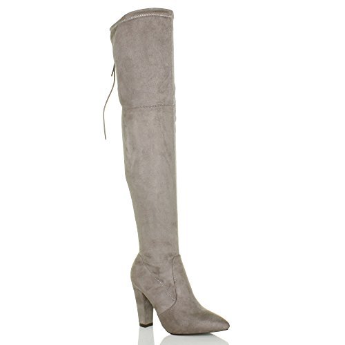Womens Ladies tacón alto cremallera parte posterior más de la rodilla botas de punta de encaje Tamaño gris