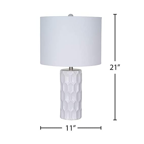 Amazon Brand – Ravenna Home Mid Century Modern White Ceramic Table Lamp With LED Light Bulb - 21 Inches, White Shade - Narrow base with wide squared shade is an eye-catching accent to mid-century and modern décor Textured ceramic base; white linen shade, brushed nickel hardware LED bulb included - lamps, bedroom-decor, bedroom - 31oVSrwkcSL. SS570  -